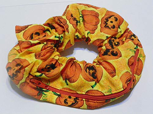 Orange Pumpkin design Handmade Scrunchie Purse w zipper storage Great for Gym Swim Jog by Yvonnes Alterations & Designs