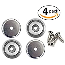 "4 Strong Neodymium 1.26"" Round Mounting Magnets with 70 lbs Pull Force - Includes 4 Free Stainless Steel Screws- Multi Use as Tool or Knife Holder, Door Latch, Fridge Magnet 