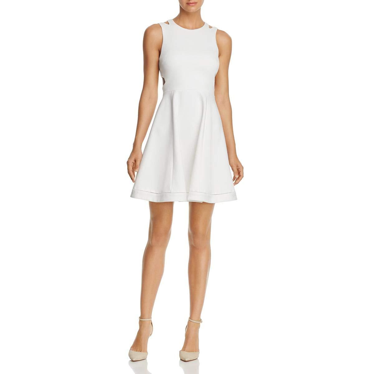 French Connection Women's Whisper Light Sleeveless Strappy Stretch Mini Dress, White Lula, 6