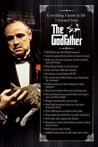 Godfather Everything I Know 24 x 36 inches Gangster Movie Poster