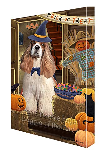 - Doggie of the Day Enter at Own Risk Trick or Treat Halloween Cocker Spaniel Dog Canvas Print Wall Art Décor CVS95696 (8x10)