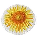 ETsakula Outdoor Sunflower Beach Blanket, Beach Towel, Tapetry, Roundie Beach Throw Blanket, Ultra Soft, Absorbent, Multi-Purpose, 60 inches