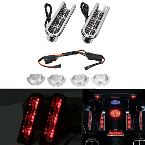 Jade Motorcycle Chrome Accent Saddlebag Filler Insert Support LED Inserts Rear Light For Harley Touring - Accents Saddlebag Rear