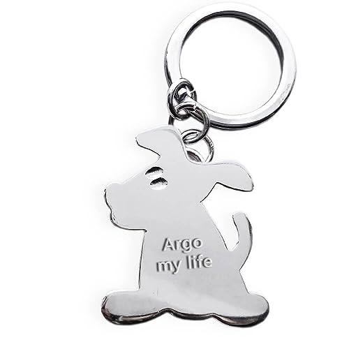 Llavero con forma de perro de plata 925 con grabado ...