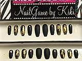 Black Matte and Gold Foil Hand Designed Press On Nails