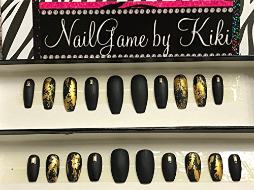 Black Matte and Gold Foil Hand Designed Press On Nails by NailGame by Kiki