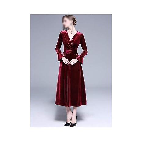 ZSRHH-Falda Vestido de Mujer Vestido Largo de Terciopelo con ...