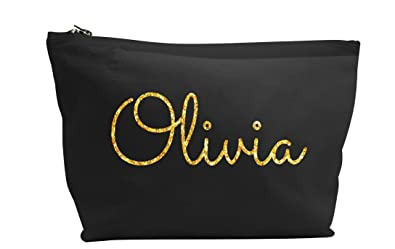 c717f256379 Personalised Name Make up Accessory Wash Bag in Black or Natural Colour.  Metallic or Glitter