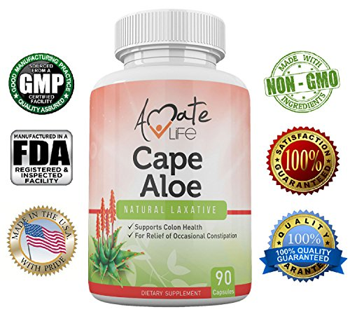 Amate Life Cape Aloe Natural Laxative Supplement- Constipation Relief- Regulate Bowel – All-Natural Herbal Detox- Weight Loss Dietary Supplement- Digestion Help Dietary Supplement- 90 Caps- non GMO