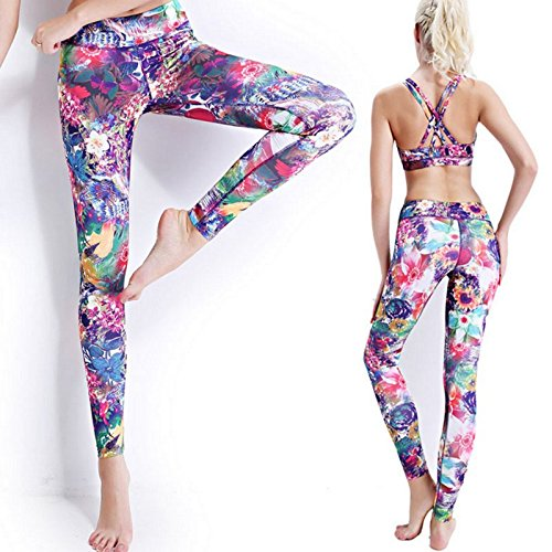 Sport BH, Canv Cristalite Mujer Pattern Flora elástico transpirable Push Up Front Animales con acolchado extraíble, X de espalda, sin asa para yoga pilates Fitness Entrenamiento B-Leggings