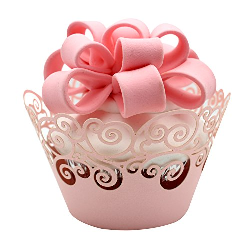 KEIVA Cupcake Wrappers 60 Filigree Artistic Bake Cake Paper Cups Little Vine Lace Laser Cut Liner Baking Cup Muffin Case Trays for Wedding Party Birthday Decoration (Pink)