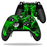 MightySkins Protective Vinyl Skin Decal for Microsoft Xbox One Elite Wireless Controller case wrap cover sticker skins Green Flames