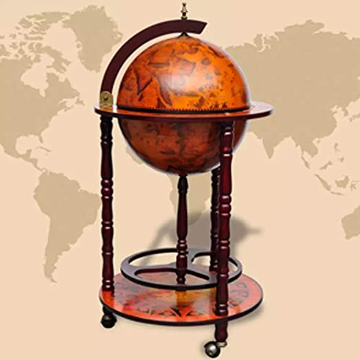vidaXL Solid Eucalyptus Wood Globe Bar Wine Stand 16th Century Italian Liquor Mini Tables
