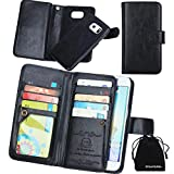 Image of DRUnKQUEEn, S6 Edge Case, Card Holder Samsung Galaxy S6Edge Case Wallet Leather Flip Case - Detachable Magnetic Hard Back Cover with Lanyard Wrist Strap (NOT for Edge Plus)