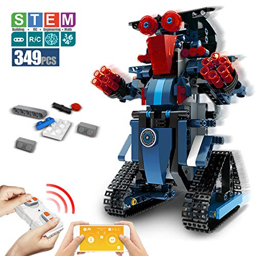 DAZHONG Building Block Robot App Controlled Toy Educational Electric RC Robot Bricks STEM Toys with LED Intelligent Charging Gift for Boys Girls Age of 6,7,8,9-14 Year Old (Blue) -