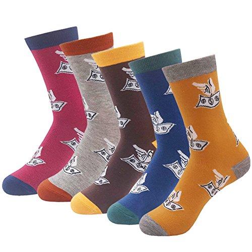 Men's Fun Dress Socks - KoolHour Colorful Funky Fashion US Dollar Money Crazy Patterned Casual Novelty Tube Crew Socks Gifts for Men,5 -