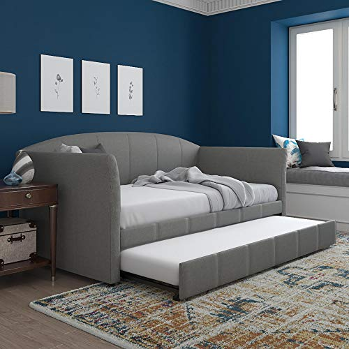 DHP Halle Upholstered Daybed and Trundle, Sofa Bed Fits Twin Size Mattress...