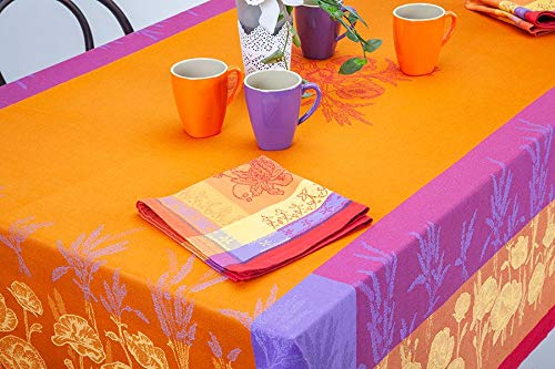 Les Tissages du Soleil French Jacquard Tablecloth, Coquelicots (Poppies), Orange, 63 Inches x 98 Inches, Teflon Coated