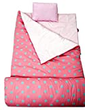 SoHo kids Pink Aqua children sleeping slumber bag with pillow and carrying case lightweight foldable for sleep over