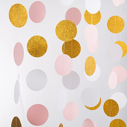 MOWO Glitter Paper Garland Circle Dots with Glitter Powder Hanging Decor 2.5'' in Diameter 20-feet(gold glitter,pink,white,2pc) (Hanging Sparkle Room Decor)
