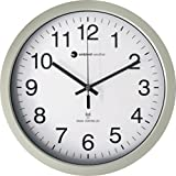 "Ambient Weather RC-1200WS 12"" Atomic Radio Controlled Wall Clock, White / Silver"