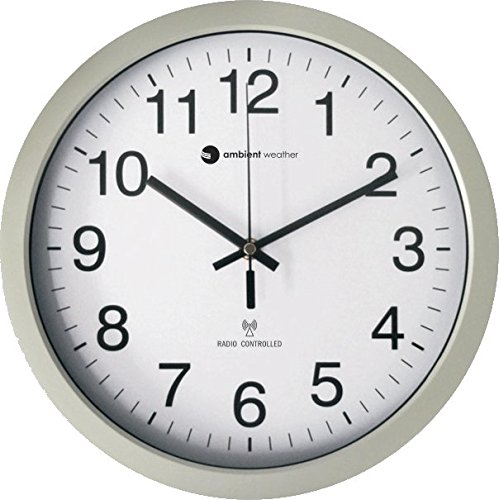 Ambient Weather RC-1200WS 12 Atomic Radio Controlled Wall Clock, White/Silver
