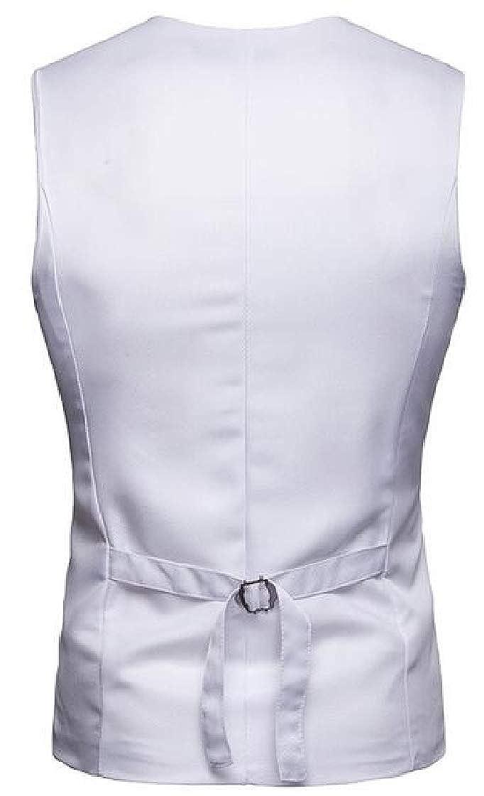Etecredpow Mens Work Business Suit Slim Casual Club Vest