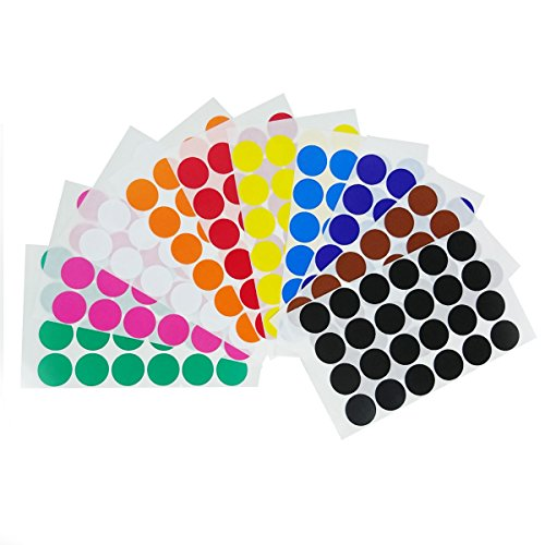 1' Color Coding Labels - 10 colors, Pack of 1200