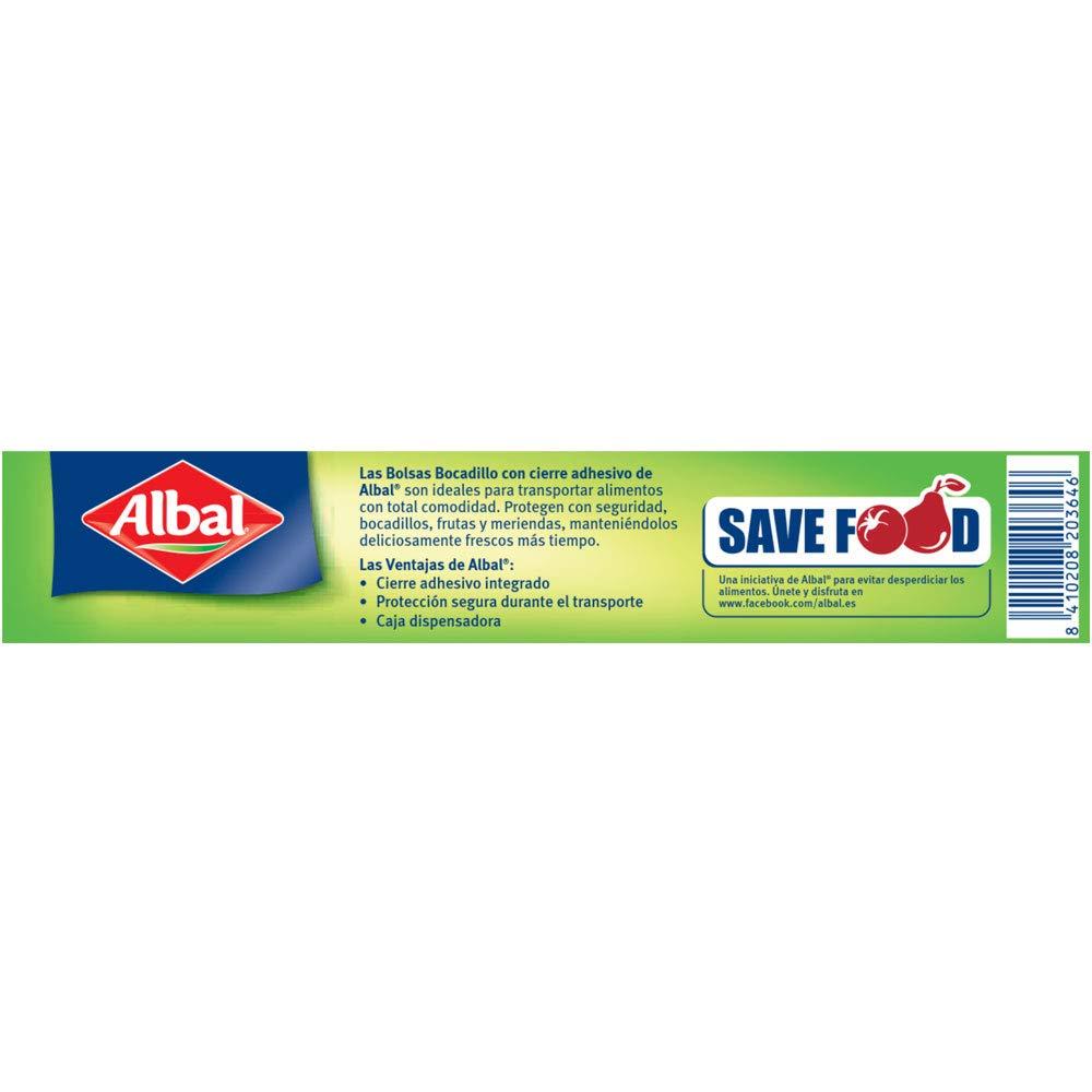 Albal Bolsas para bocadillo, cierre adhesivo, capacidad máx. 1L, 50 unidades, 19 x 21,5 cm