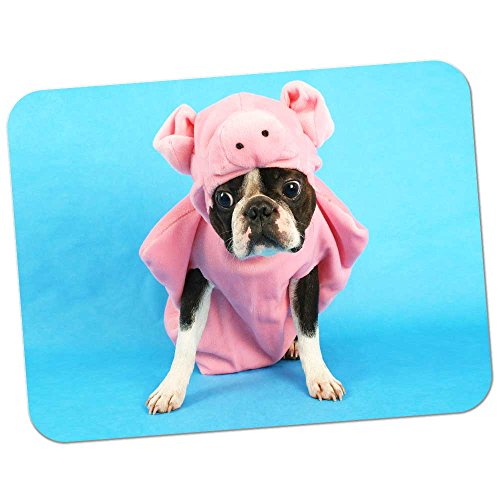 Extra Thick Rubber Mouse Pad / Mat - 9.6 x 7.5 x 0.2 inches - Boston Terrier Dressed As Pig