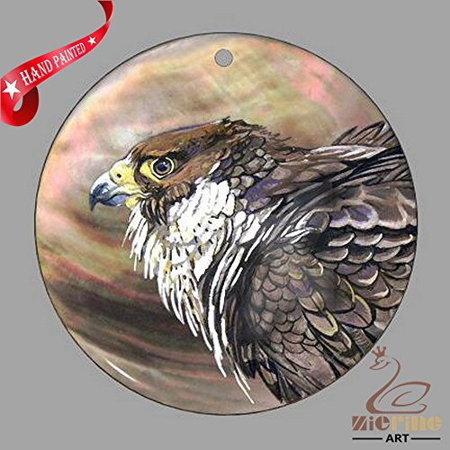 JEWELRY NECKLACE HAND PAINTED EAGLE BIRD SHELL PENDANT