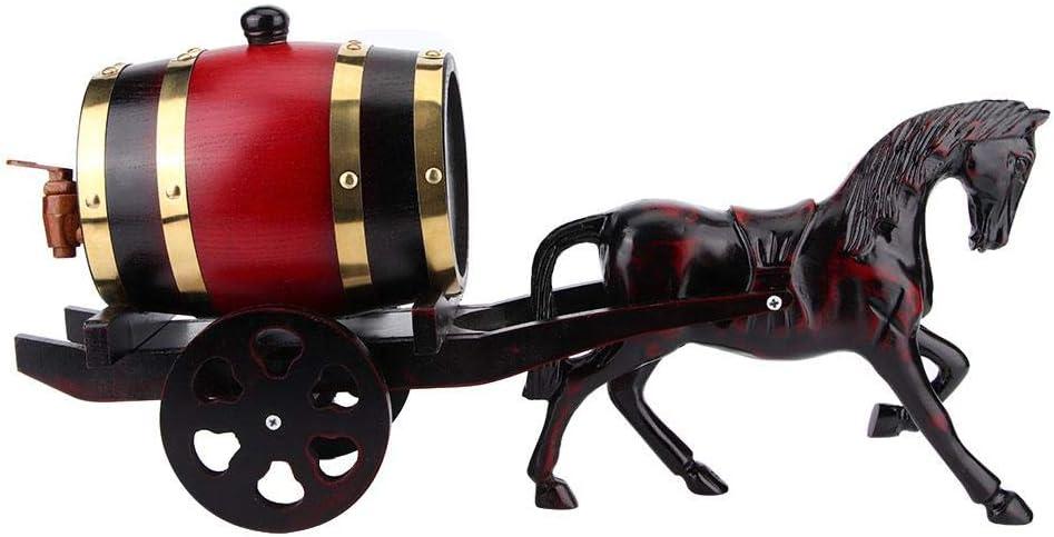 1.5L UniqueOak Wine Barrel Keg Container Kit Forma de carro tirado por caballos Adorno para el hogar Vino tinto para el hogar Cafetería Restaurante Hotel
