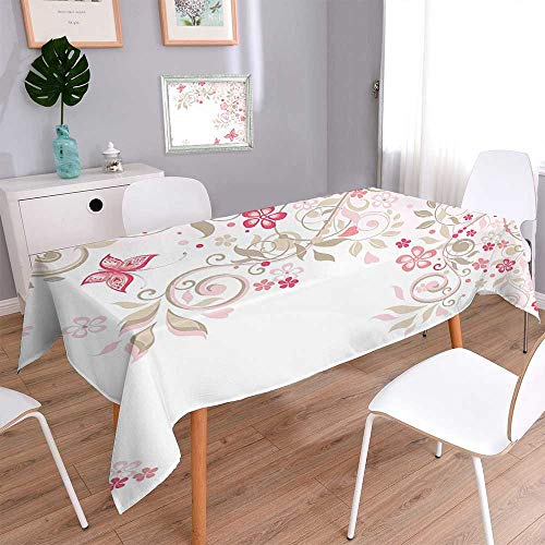 Spring & Summer Outdoor Tablecloth, Spill Proof and Waterproof Branches Wildflowers Butterflies Dots Romantic Bridal Wedding Theme Pink Cocoa Light Pink Multicolor 60