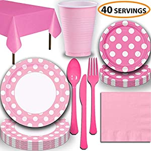 Disposable Tableware, 40 Sets - Lovely Pink and Hot Pink Dots - Dinner Plates, Dessert Plates, Cups, Lunch Napkins, Cutlery, and Tablecloths: Premium Quality Party Supplies Set
