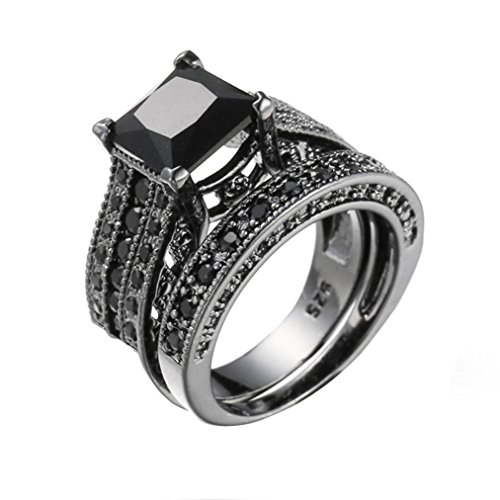 Price comparison product image Womens Vintage Diamond Ring 2-in-1 Silver Engagement Wedding Band Ring Set Size 5-12 (9,  black)