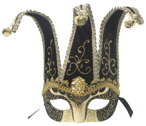 RedSkyTrader Mens Jester Mask One Size Fits Most Black and Gold (Mens Masks Jester Masquerade)