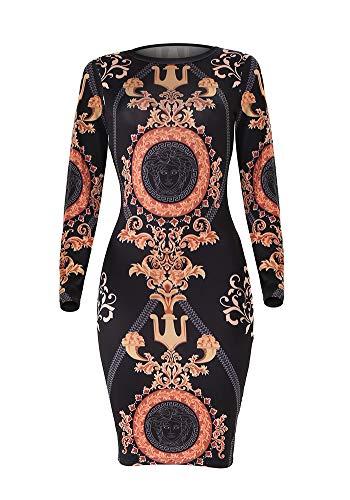 Knight Horse Women African Attire Dresses Long Sleeve Bodycon T Shirt Midi Dress Black