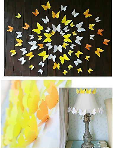 Chilly 3D Butterfly Decals Wall Sticker for Home, Kitchen, Nursery and Room Decorations, 72PCS in Total- Diversity in 6 Colors and 3 Sizes, Water Resistant, Removable and Reusable (Solid Color) -