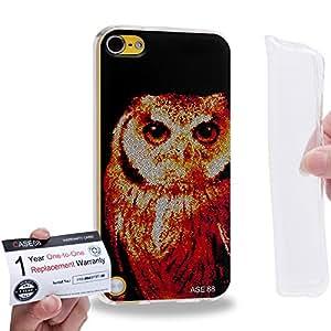 Case88 [Apple iPod Touch 5] Gel TPU Carcasa/Funda & Tarjeta de garantía - Art Aztec Design Red Owl Animal Faces 1283