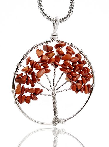 THINK POSITIVE Tree of life Pendant Necklace with Ross Quartz Crystal Gemstone Chakra Jewelry (Red Coral(silver)) (Pendant Coral Tree)