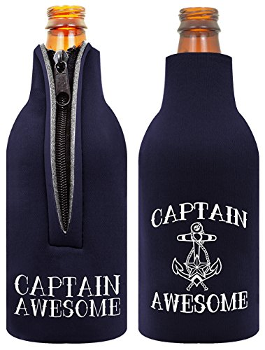 Funny Beer Bottle Coolie Captain Awesome Sailing Gag Gift 2 Pack Bottle Drink Coolers Coolies Navy