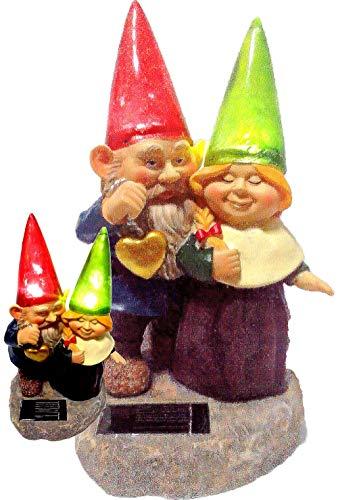 (Loving Couple Garden Gnome Holding Hearts and Flower Garden Solar Light)