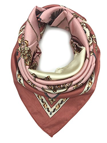 (YOUR SMILE Silk Like Scarf Women's Fashion Pattern Large Square Satin Headscarf Head Dress)