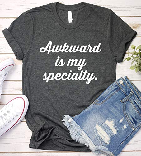 Awkward is My Specialty Funny Sarcastic T-Shirt V-Neck Long Sleeve