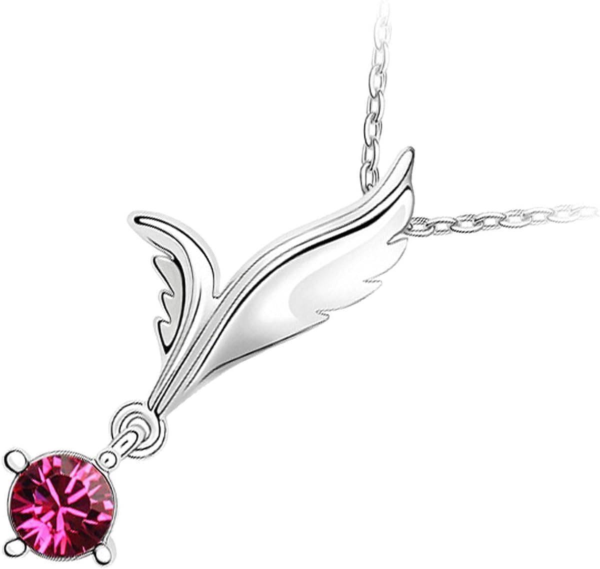 UPCO Jewellery Collar con Pendiente de Alas de Ángel con una Pieza de Cristal Púrpura Amatista de 10 MM, el Color de los Nacidos en el Mes de Febrero, de 36 x 16 MM Bañado en Oro Blanco 18K