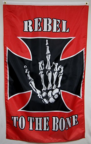 Rebel To The Bone Flag 5' X 3' Vertical Indoor Outdoor ()