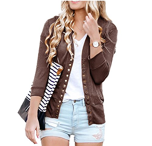 SHOPGLAMLA Womens 3/4 Sleeves Snap Button Ribbed Neckline Sweater Knit Cardigan