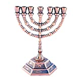 Decorative Menorah , Menora 7 Branch Jewish Israel Holy Land Jerusalem.12 Tribes Design-chrome Color 5