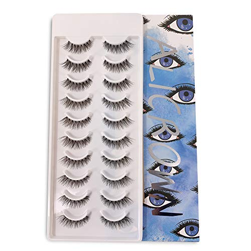 ALICROWN False Eyelashes Natural Lashes BLUE (10 Pairs)