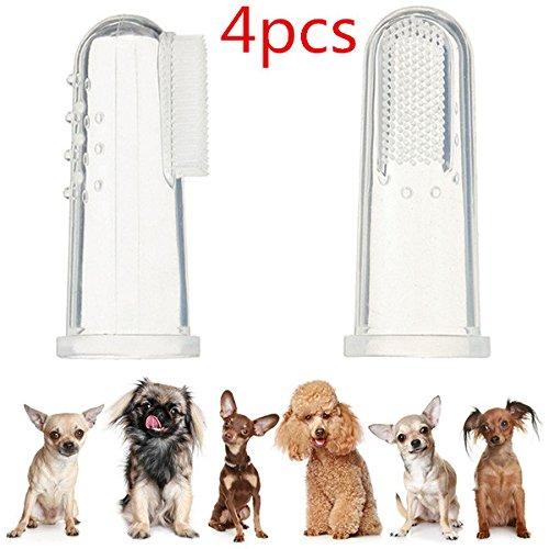 UEETEK 4pcs chien doigt brosse à dents Silicone hygiène dentaire doigt brosses pour Midium petit gros chiens chats et la plupart des animaux